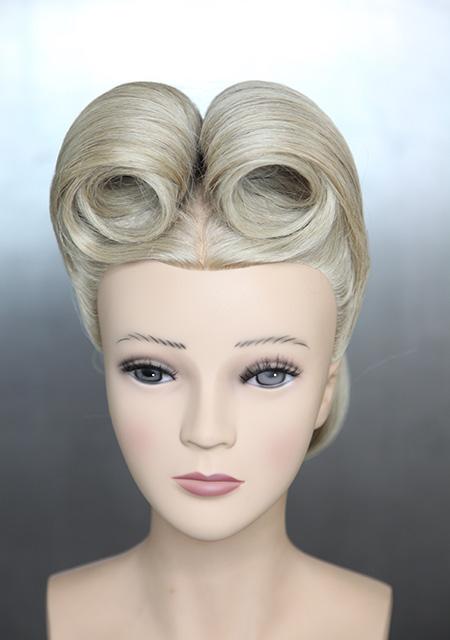 Echthaar Trainingskopf Frisierkopf blond farbe mit Hochsteckfrisur